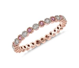 Pink Sapphire and Diamond Eternity Ring in 14k Rose Gold by Blue Nile