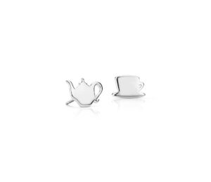 Tea Time Mismatched Stud Earrings in Sterling Silver by Blue Nile
