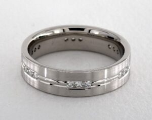 Etched Channel Set Diamond Wedding Ring by James Allen