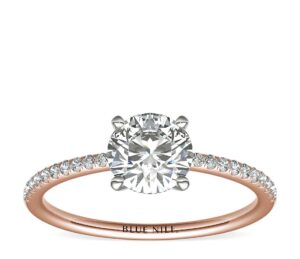 Petite Micropavé Diamond Engagement Ring in 14k Rose Gold by Blue Nile