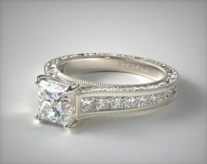 Hand-Engraved Channel-Set Princess Shape Diamond Engagement Ring by James Allen