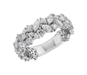 Marquise & Round Diamond Cluster Wedding Ring (Women's)