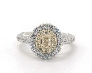 Oval Halo Fancy Yellow Diamond Ring by James Allen