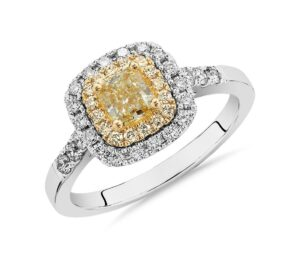 Yellow Cushion-Cut Diamond Halo Ring by Blue Nile