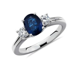 Sapphire and Diamond Ring in 18k White Gold Ring by Blue Nile