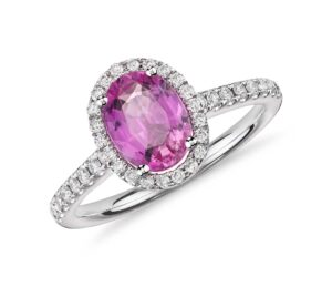 Pink Sapphire and Micropavé Diamond Halo Ring by Blue Nile