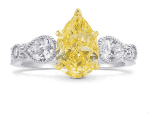 10.41 Carat Brownish Yellow Pear Accent Side-Stone Diamond Ring by Leibish
