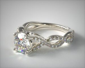 14K White Gold Double Twist Pave Engagement Ring