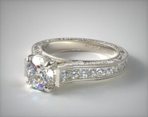 14K White Gold Hand Engraved Channel Set Round Diamond Engagement Ring