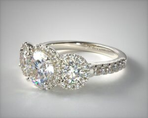 14K White Gold Pave Halo Trio Engagement Ring