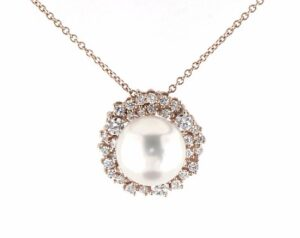 18K Rose Gold Diamond Clustered Halo with South Sea Cultured Pearl Necklace