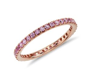 Riviera Pavé Pink Sapphire Eternity Ring by Blue Nile