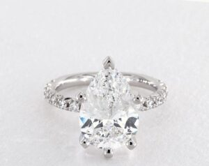 4.07 Carat Pear Shaped Pave Engagement Ring in 14K White Gold