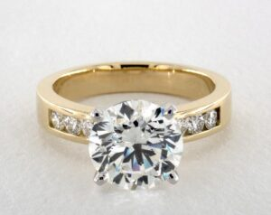 4.36 Carat Round Cut Channel Set Engagement Ring in 18k Yellow Gold
