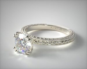Etched Rope Solitaire Round Diamond Engagement Ring by James Allen