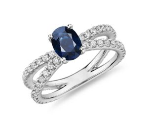 Oval Sapphire Ring with Pave Split Shank in 14k White Gold by Blue Nile