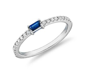 Baguette Sapphire and Diamond Pavé Stacking Ring by Blue Nile