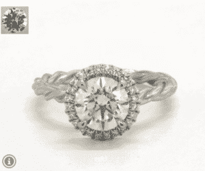 7.05 Carat Round Pave Halo Cabled Diamond Ring by James Allen