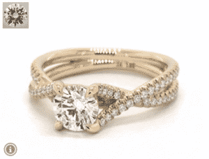 7.21 Carat Gold Twin Pave Cross Diamond Ring by James Allen