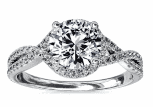 8.02 Carat Round Twisted Halo Diamond Ring by Blue Nile