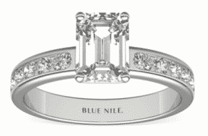 9.01 Carat Emerald Channel Diamond Ring by Blue Nile