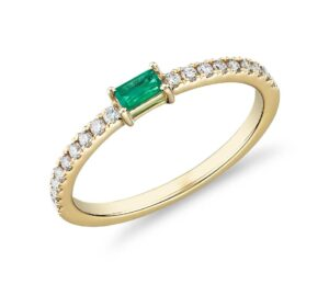 Baguette Emerald and Diamond Pavé Stacking Ring