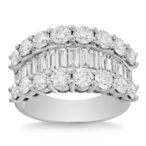 Baguette & Round Brilliant 3.20 ct. Diamond Platinum Band by Costco Jewelry