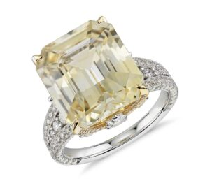Emerald-Cut Yellow Sapphire and Diamond Ring by Blue Nile