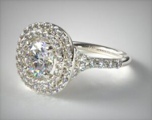 James Allen Diamond Split Shank Double Halo Pave 4.96-Carat Round-Cut Diamond Ring in White Gold