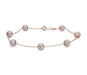 Pink Freshwater Cultured Pearl Tin Cup Stationed Bracelet by Blue Nile