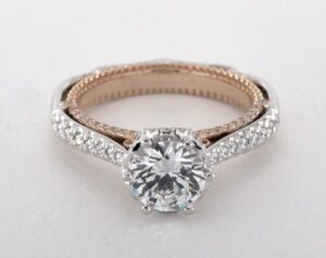 Platinum and Rose Gold Venetian Engagement Ring (Verragio) by James Allen