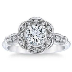 Round Brilliant 1.00 ct. Diamond Platinum Halo Ring by Costco Jewelry